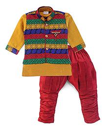 Babyhug Kurta And Jodhpuri Pajama With Jacket Brooch Design - Golden And Maroon