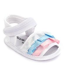 Cute Walk Velcro Ruffle Patten Booties - White