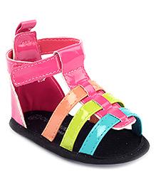 Cute Walk Velcro Strappy Patten Booties - Pink