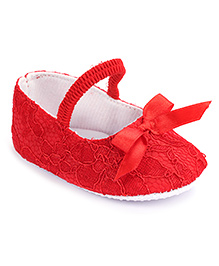 Cute Walk Bow Booties - Red