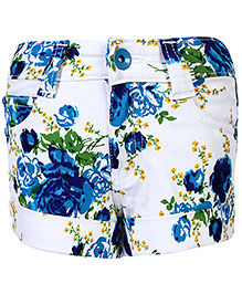 Babyhug Shorts Floral Print - White And Blue