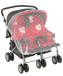 Twin Pram With Mosquito Net Protection Red Black - 703