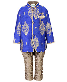 Babyhug Kurta And Jodhpuri Breeches Set Weaving Pattern - Blue