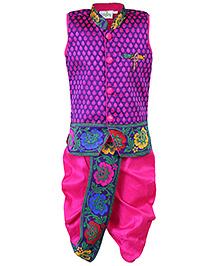 Babyhug Sleeveless Kurta And Dhoti Set Diamond Brooch - Purple And Pink