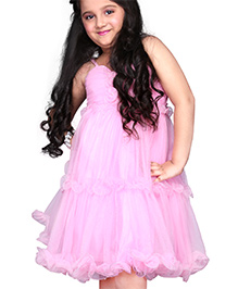 Babyhug Singlet Party Frock Flower Design - Pink
