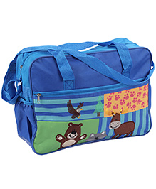Mother Bag Bear Embroidery - Blue