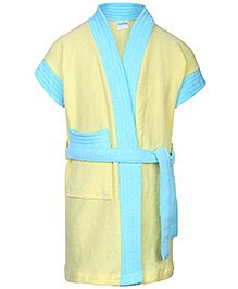 Babyhug Terry Two Tone Bathrobe - Yellow And Sky Blue