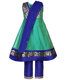 Babyhug Kurta Churidar With Dupatta Floral Design - Green And Royal Blue