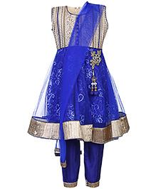 Babyhug Kurta Churidar With Dupatta Embroidery - Royal Blue And Cream
