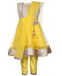 Babyhug Kurta Churidar With Dupatta Embroidery - Yellow And Cream