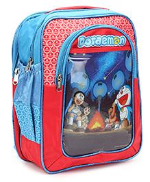 Doraemon School Bag Aqua And Red - 14 inches