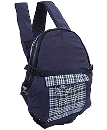 3 in 1 Soft Baby Carrier Checks Print - Navy Blue And White