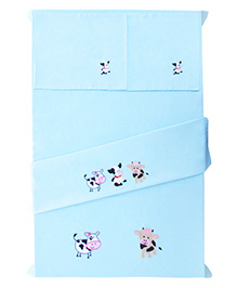 Baby Rap Crib Sheet And Pillow Case Set Cow Embroidery - Blue