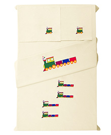 Baby Rap Crib Sheet And Pillow Case Set Train Embroidery - Lemon Yellow