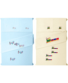 Baby Rap Crib Sheet And Pillow Case Embroidered Set Of 4 - Light Blue And Lemon