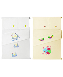 Baby Rap Crib Sheet And Pillow Case Embroidered Set Of 4 - White And Lemon
