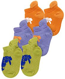 Hush Puppies Printed Socks Set of 3 - Green Purple Orange