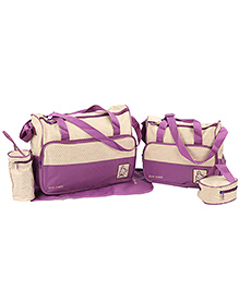Fab N Funky Mother Bag Set - Purple And Cream