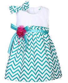 Babyhug Sleeveless Party Frock With Embellishments - Green And White