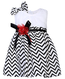 Babyhug Sleeveless Party Frock With Embellishments - Black And White