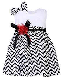 Babyhug Sleeveless Party Frock With Embellishments - Black And White