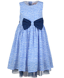 My Lil Berry Sleeveless Printed Dress With Bow - Blue