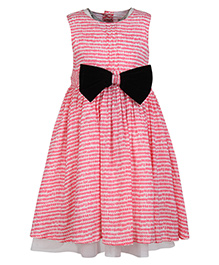 My Lil Berry Sleeveless Printed Dress With Bow - Pink