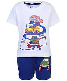 Tango Short Sleeves T-Shirt And Shorts Vehicle Print - White And Royal Blue