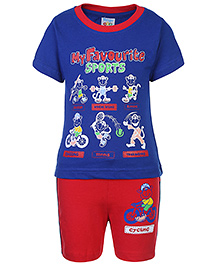 Tango Short Sleeves T-Shirt And Short Sports Print - Red And Blue