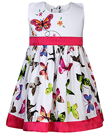Babyhug Sleeveless Frock Butterfly Print -Pink And White