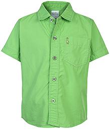Babyhug Half Sleeves Solid Color Shirt With Logo - Green