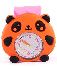 Slap Style Watch Panda Design - Orange And Pink