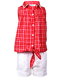 ShopperTree Check Top With Hemla Short - Red And White