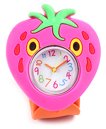 Slap Style Watch Strawberry Shape Dial - Pink And Orange