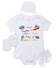 Babyhug Clothing Set Cake And Ice Cream Print - White