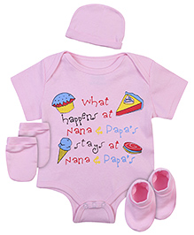 Babyhug Clothing Set Cake And Ice Cream Print - Pink