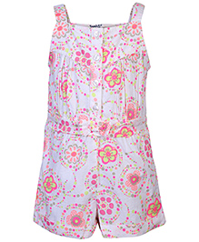 Beebay Sleeveless Jumpsuit Floral Print - Cream And Pink