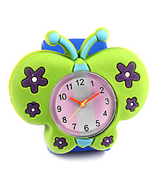 Slap Style Analog Watch Butterfly Design - Green And Blue