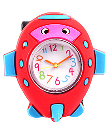 Slap Style Analog Watch Fish Design - Red And Black