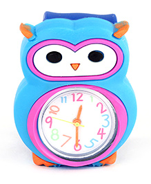 Slap Style Analog Watch Owl Design - Sky Blue And Blue