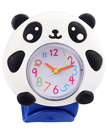 Slap Style Analog Watch Panda Design - White And Blue