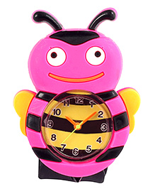 Slap Style Analog Watch Honey Bee Design - Pink And Black
