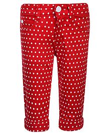 Babyhug Capri  Polka Dots- Red