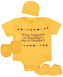 Babyhug Clothing Set Caption Print - Yellow