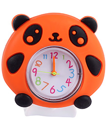 Slap Style Analog Watch Panda Design - Orange And White