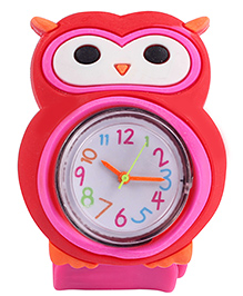 Slap Style Analog Watch Owl Design - Pink And Red