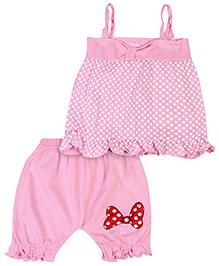 Babyhug Singlet Top And Shorts Set Polka Dot Print - Pink