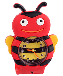 Slap Style Analog Watch Honey Bee Design - Red