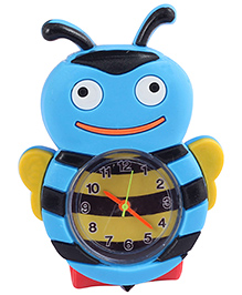 Slap Style Analog Watch Honey Bee Design - Red And Sky Blue