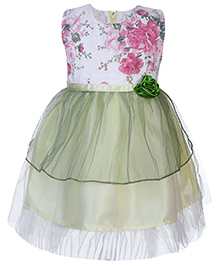 Babyhug Party Dress Floral Embellishment - Light Green And White